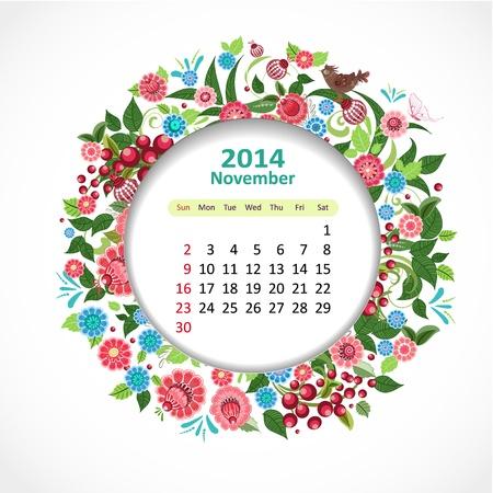 Calendar for 2014, november Vector