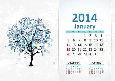 Calendar for 2014, january Stock Vector - 21526592