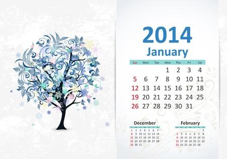 Calendario para 2014, enero