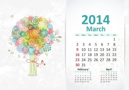 Calendar for 2014, march Stock Vector - 21526594