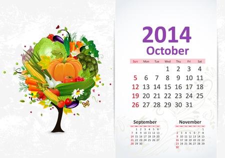dates fruit: Calendario para 2014, octubre Vectores