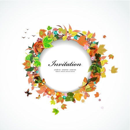 Autumn round frame for your design Vector