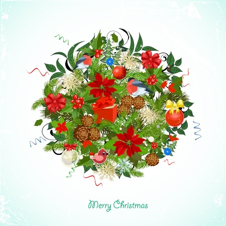 Round Christmas ornament for your design Vector