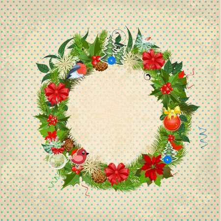 Round Christmas frame for your design Vector