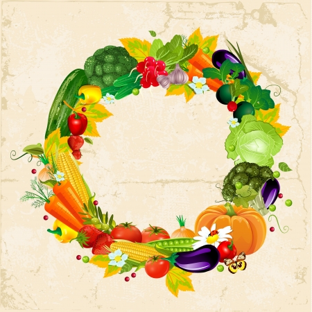 Round frame with fresh vegetables for your design