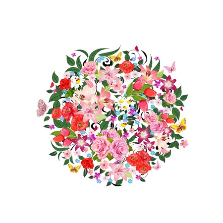 animal border: Round pattern of beautiful flowers for your design