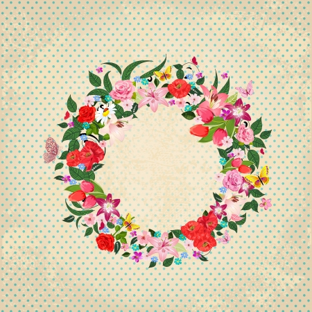 Round frame of beautiful flowers for your design Vector