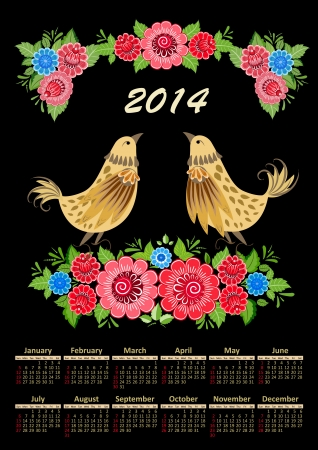 Calendar for 2014 in the folk style khokhloma Vector