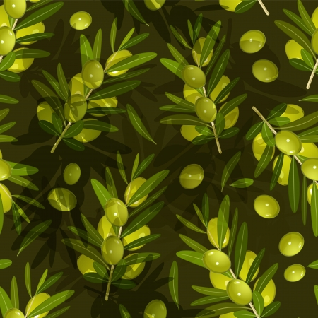 Seamless texture with olive Vector