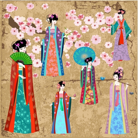 Oriental girl in retro costume Vector