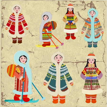 woman in fur coat: Vintage design with Eskimo women