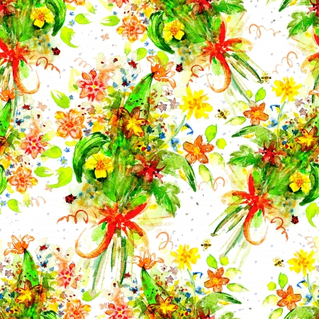 floral seamless texture of watercolor photo