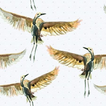 Nahtlose Textur mit Aquarell Vögel Standard-Bild - 22086461