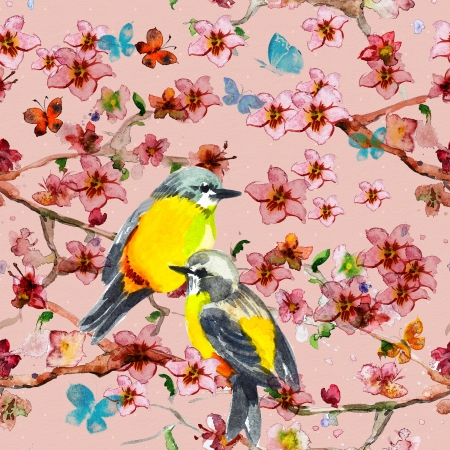 chinese watercolor: floral seamless texture watercolor