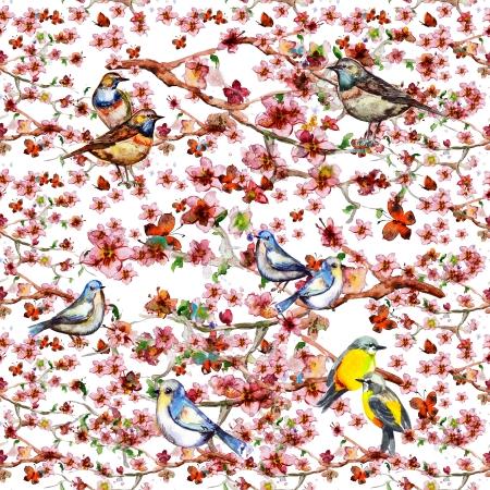 花のシームレスなテクスチャ水彩画 写真素材