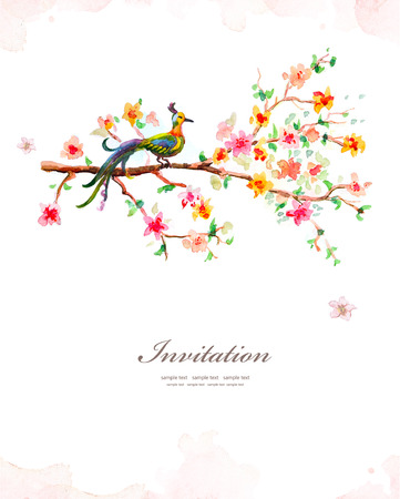 oriental: Flower watercolor card Stock Photo