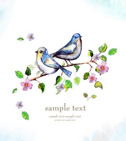 aquarel kaart met een vogel Stockfoto