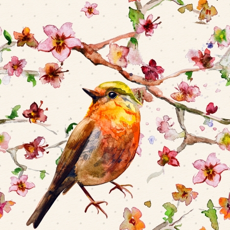 oriental: Nature seamless texture watercolor Stock Photo