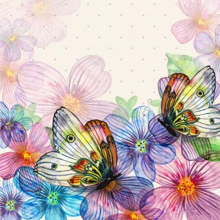 Floral retro card watercolor Stock Photo