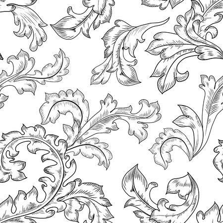 baroque: Textura inconsútil de la vendimia Vectores