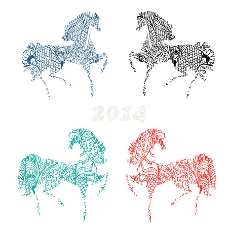 Symbol 2014 vintage horse set Stock Vector - 22467775