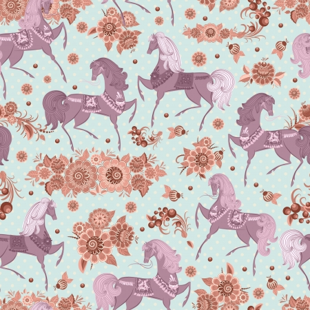 seamless texture with horses in flowers Vector