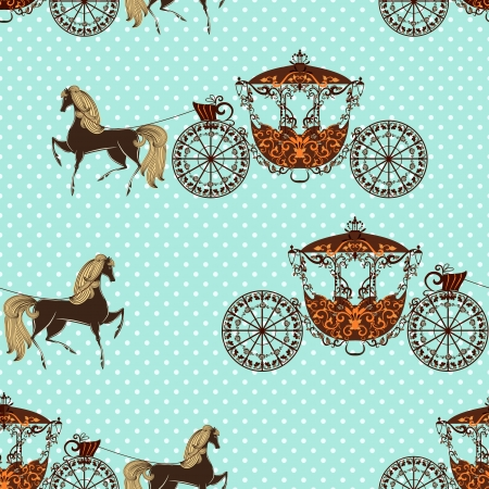 seamless texture with horses with carriage Vector