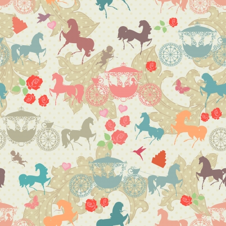 seamless texture with horses with carriage Stock Vector - 22467784