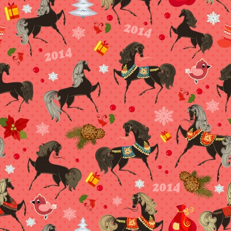 Festive seamless texture with horses 일러스트