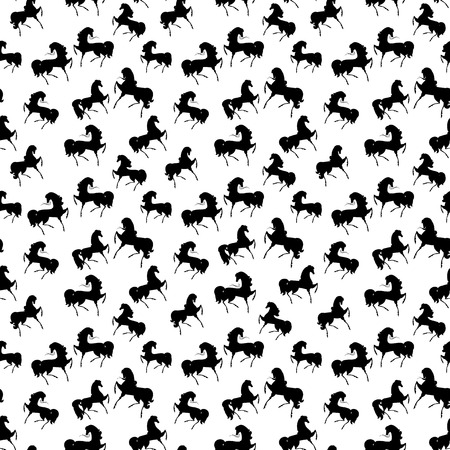 horses in the wild: Seamless retro texture with horses