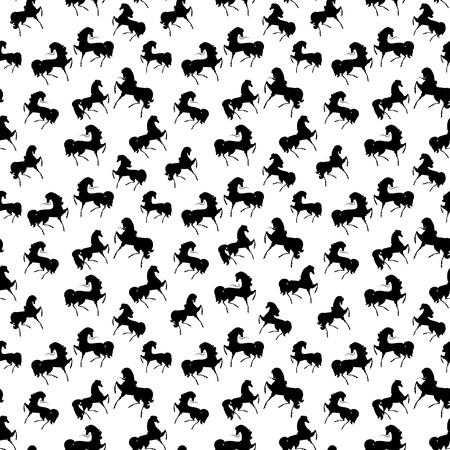 sem costura: Textura retro sem emenda com cavalos Ilustra��o