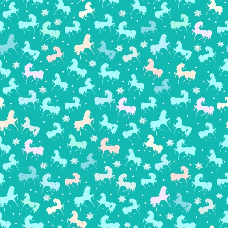 Festive seamless texture with horses Vector