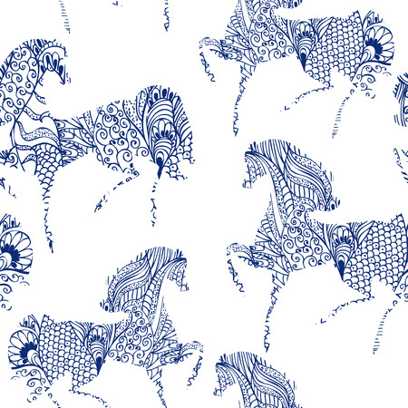 textiles: Festive seamless texture with horses Illustration