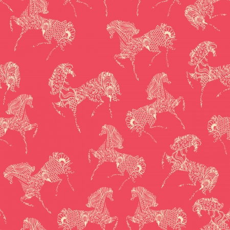 year of horse: Festive seamless texture with horses Illustration