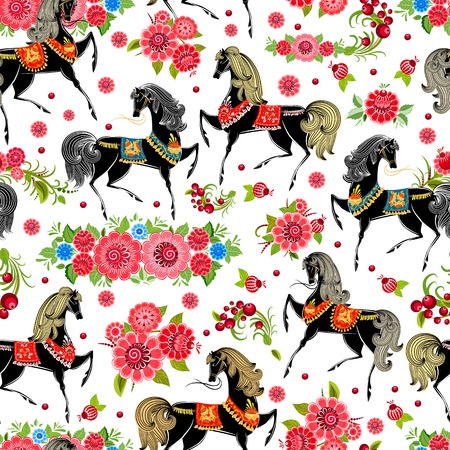 wallpaper pattern: seamless texture with horses in flowers Illustration