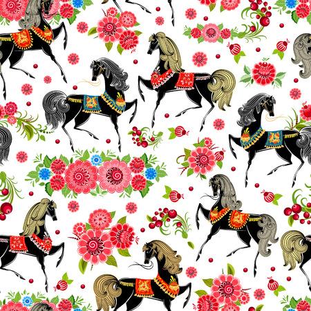 Struttura senza giunte con i cavalli in fiori Archivio Fotografico - 22467791