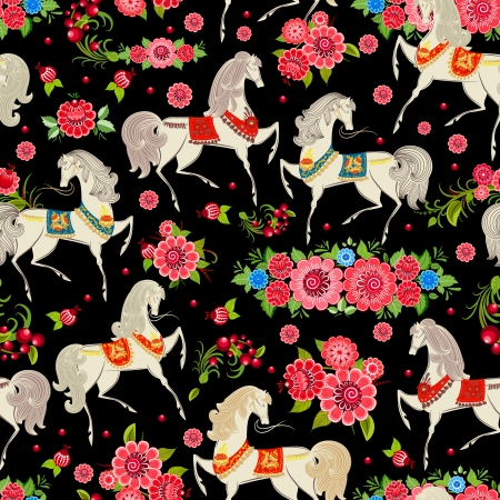 animal border: seamless texture with horses in flowers Illustration