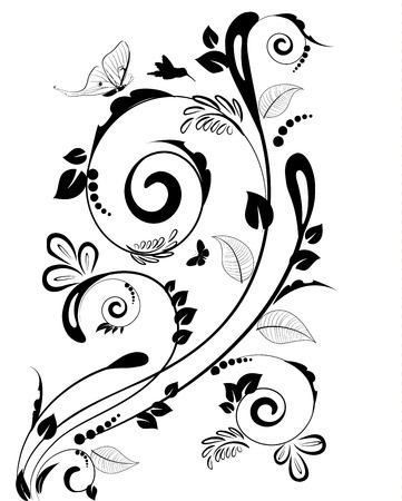 black borders: Vintage floral border for your design