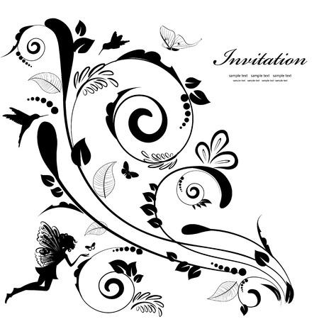 motif floral: Frontière floral vintage pour votre conception