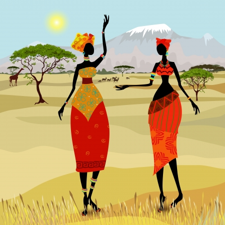giraffes: African women in mountain landscape