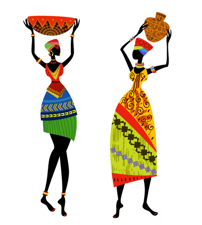 africano: Hermosa mujer africana con el traje tradicional