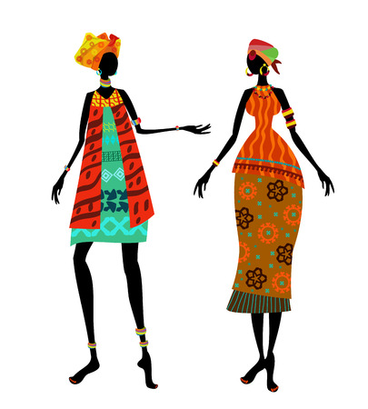Beautiful African woman in traditional costume 일러스트