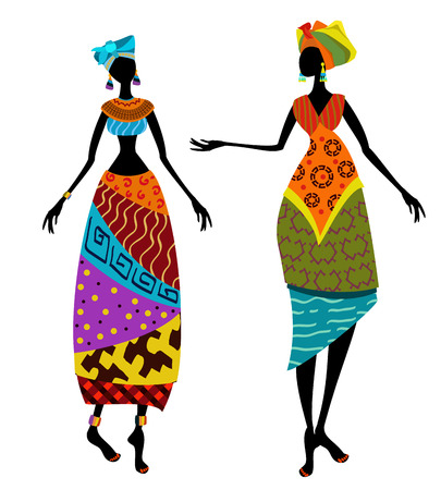 Beautiful African woman in traditional costume Ilustração