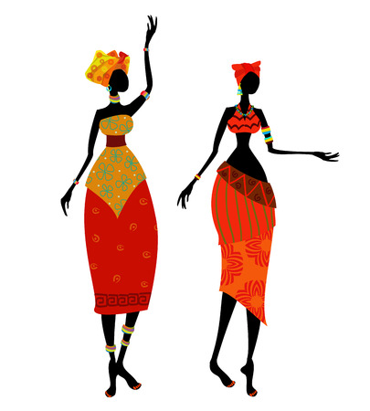 Beautiful African woman in traditional costume Vector