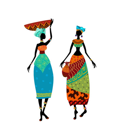 vases: Beautiful African woman in traditional costume Illustration