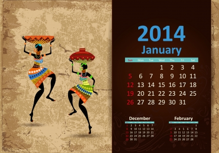 Ethnic Calendar 2014 January Vector