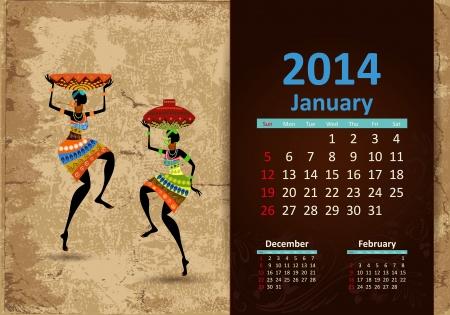fashion week: Ethnic Calendar 2014 January Illustration