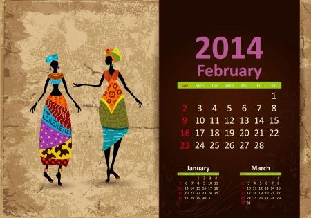 fashion week: Ethnic Calendar 2014 February Illustration