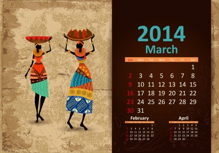 Ethnic Calendar 2014 March Vector