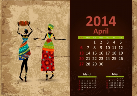 Ethnic Calendar 2014 april Vector